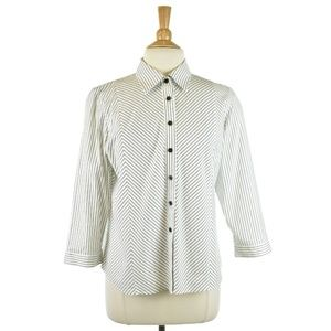 Talbots White and Black Stripe Button Up Blouse